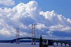 Bridge with puffy clouds in the back ground Royalty Free Stock Photos
