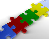 Bridge of Puzzle. Bridge of Multi colored Jigsaw Pieces. 3D rendered reflective on white background Royalty Free Stock Photography