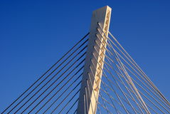 Bridge pylon. Pylon of the bridge with cables for bridge support stock photography