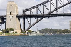 Bridge Pylon. Sydney Harbour bridge with boats Stock Photo