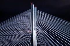 Bridge pylon during the night. Steel bridge pylon during the night royalty free stock image