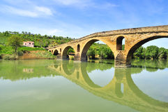 Bridge of the Queen (Puente la Reina). Bridge of the Queen over the river Arga - Puente la Reina (Gares), Navarra, Spain. Part of the way of St. James stock image