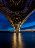 Bridge on a quiet night, bottom view Royalty Free Stock Photos