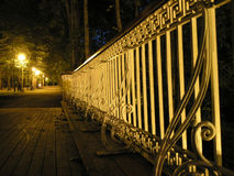 Bridge railing at night Royalty Free Stock Photography