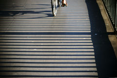Bridge railing throws shadows Stock Image