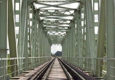 Bridge Railway front view. The tunnel of railtrack bridge. Railroad with bridge metallic construction Royalty Free Stock Images