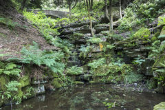 Bridge and the ravine at Rivington Terraced Gardens Royalty Free Stock Photos
