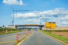 Bridge reconstruction. Over federal highway B27 direction Villingen-Schwenningen. Road with cars and cranes Stock Photography