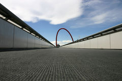 Bridge with red arch. Long bridge with tall red arch in Torino, Italy Stock Images