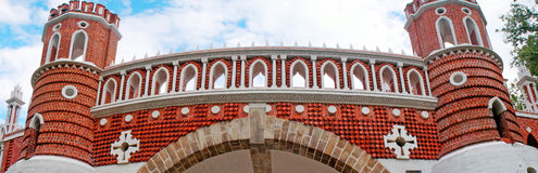 Bridge of red brick decorated with white pattern Royalty Free Stock Image