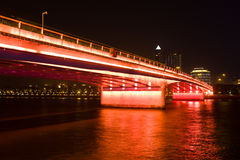 Bridge in red lights Stock Photography