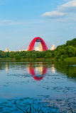 Bridge. Red bridge over the river is reflected on the surface of the pond royalty free stock image