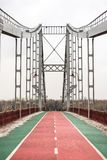 Bridge with red road with markings. Horizontal frame Royalty Free Stock Image