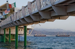 Bridge at the Red Sea near Eilat, Israel Royalty Free Stock Images