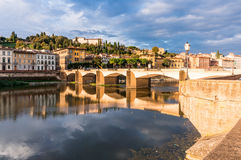 Bridge with reflaction on Arno river Royalty Free Stock Images
