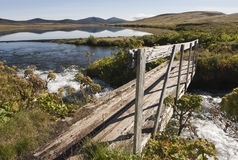 Bridge and  reflction on water in Iceland Stock Photography