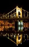 Bridge Reflection. Reflection of a bridge spanning over a river in Pittsburgh, PA Royalty Free Stock Photos