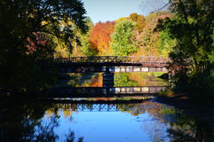 Bridge, Reflection, Fall Colors Royalty Free Stock Photography