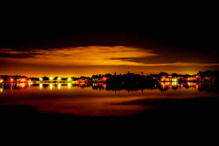 Bridge reflection of lights on the water royalty free stock photo