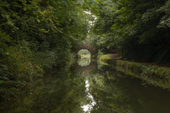 Bridge Reflection. The still waters of the Grand Union Canal in Bedfordshire perfectly reflect a bridge at the end of a leafy glade Royalty Free Stock Photos