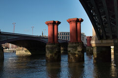 Bridge Remains. Remains of the 19th Century Blackfriars Bridge, River Thames, London Stock Photography