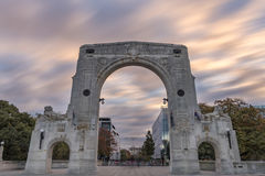 Bridge of Remembrance in the cloudy day, Christchurch, New Zealand. I took a photo of Bridge of Remembrance in the cloudy day. The landmark located in the city Royalty Free Stock Images