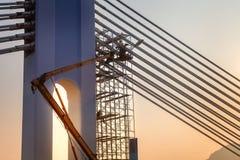 Bridge repair on at sunset Royalty Free Stock Photos