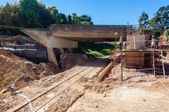 Bridge Repairs Road Rail-line Floods Stock Photography