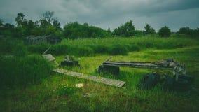 Bridge in Republic Karelia. Bridge and barn in Republic Karelia Stock Photography