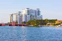 Bridge and residential properties along the canal in Miami Beach, Florida. Royalty Free Stock Photo