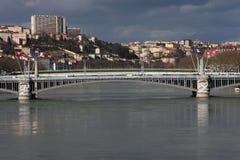 Bridge on Rhone river in Lyon Stock Photography