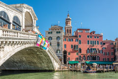 Bridge Rialto over the Canal Grande in Venice Royalty Free Stock Image