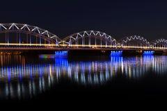Bridge in Riga. Train bridge over the Daugava river in Riga, Latvia Royalty Free Stock Image