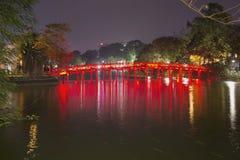 Bridge of the Rising Sun in the night illumination. Hanoi, Vietnam Stock Photography