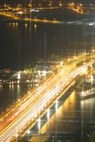 The bridge and the river. Night shot of the expressway bridge leading to Clifford Pier Royalty Free Stock Photo
