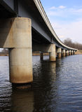 Bridge on river. Concrete and steel bridge structure Stock Photo
