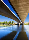 Bridge and river. Close up image of under a bridge with a river royalty free stock photos