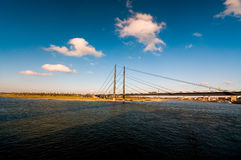 Bridge and river. With city landscape Royalty Free Stock Photo