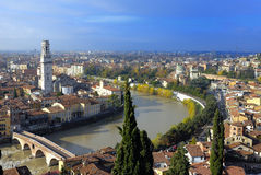 Bridge and River. View of the river Adige and the Roman bridge called Ponte di Pietra in Verona, Italy Royalty Free Stock Photos