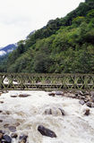 Bridge on the river. It is a metal bridge on the river, it is in Tibet of China. with green forest Stock Photos