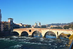 Bridge on River Adige in Verona, Italy Stock Image