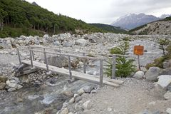 Bridge on the river at the Los Glaciares National Park, Argentina. Bridge on the river along the trail to Cerro Fitz Roy at the Los Glaciares National Park Royalty Free Stock Photography
