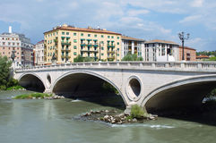 Bridge, river and buildings in Verona Stock Image