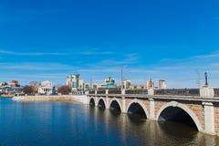 Bridge through the river Royalty Free Stock Image