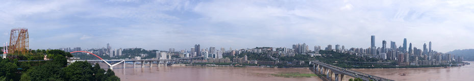 Bridge and river in Chongqing, China Royalty Free Stock Image