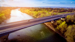 Bridge-river-croatia. Aerial shot of the bridge over the Sava river in Croatia Stock Images