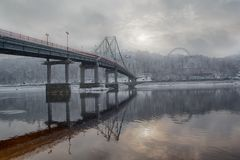 Bridge and the river Dnieper in winter. Kiev. Ukraine Stock Photos
