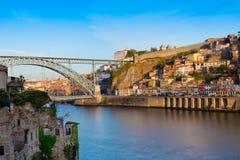 Bridge through River Douro in the city of Porto Stock Images