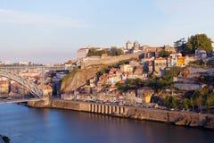 Bridge through River Douro in the city of Porto Royalty Free Stock Images