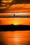 Bridge. On the river Drava in the sunset Stock Photos